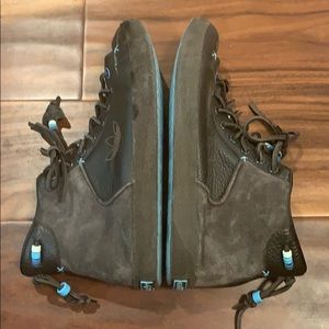 Adidas Brown Leather Mid-Top Sneakers w/ Blue Bead